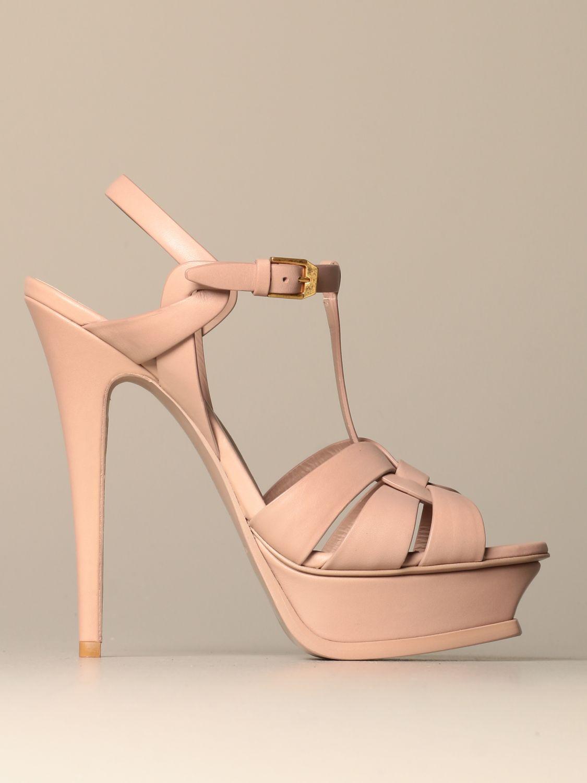 Heeled sandals Saint Laurent: Shoes women Saint Laurent beige 1