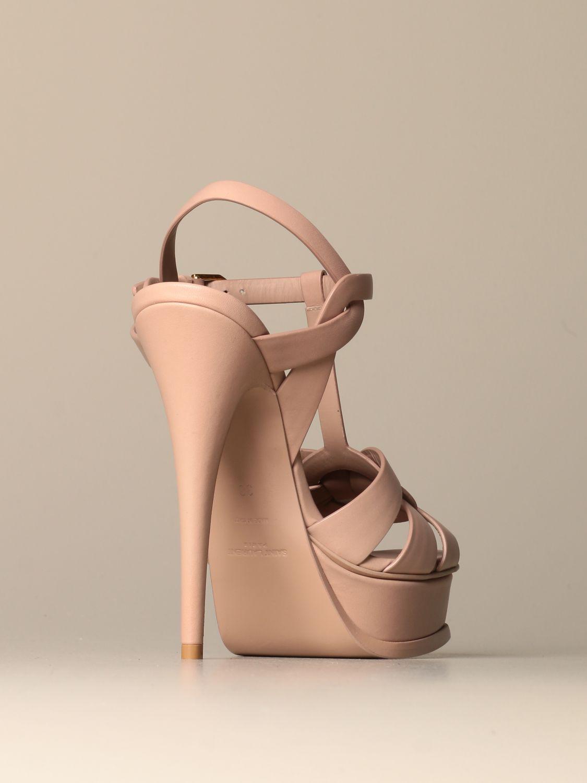 Heeled sandals Saint Laurent: Shoes women Saint Laurent beige 3