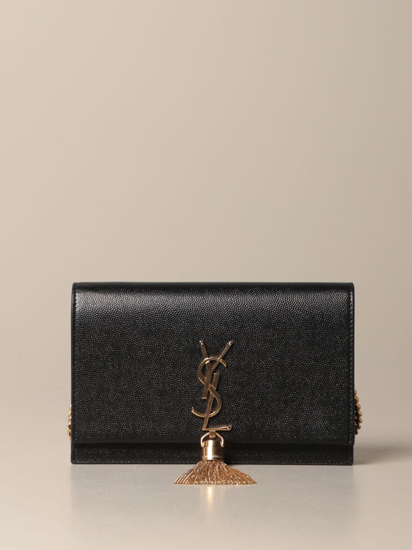 Umhängetasche Saint Laurent: Kate Monogram Saint Laurent Tasche aus Narbenleder schwarz 1