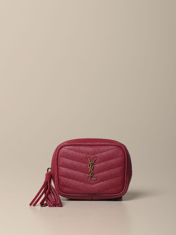 Mini- Tasche Saint Laurent: Lou Nano Saint Laurent Tasche aus Narbenleder rot 1