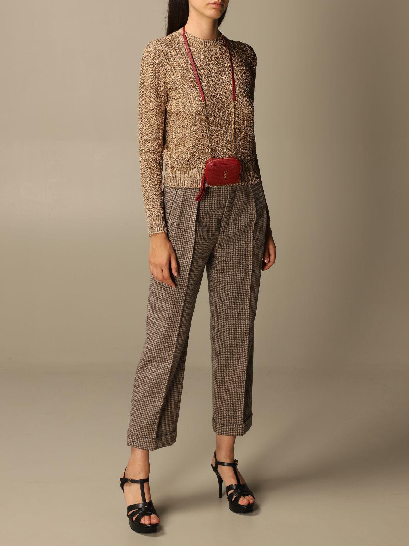 Mini- Tasche Saint Laurent: Lou Nano Saint Laurent Tasche aus Narbenleder rot 2
