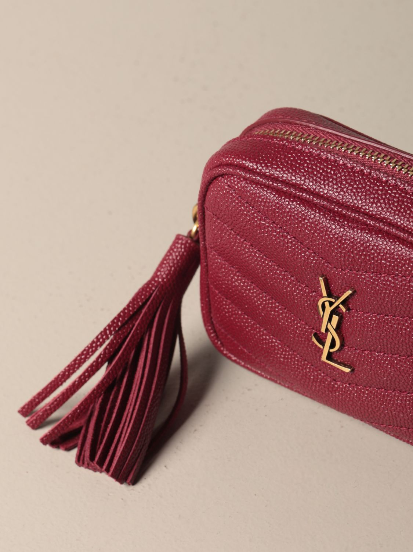 Mini- Tasche Saint Laurent: Lou Nano Saint Laurent Tasche aus Narbenleder rot 4
