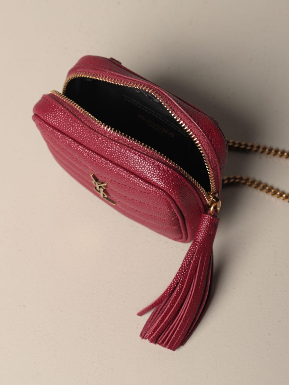 Mini- Tasche Saint Laurent: Lou Nano Saint Laurent Tasche aus Narbenleder rot 5