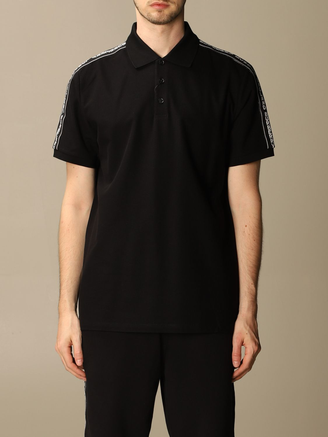 Polo shirt Burberry: Stonely Burberry polo shirt in piqué cotton with logoed bands black 1