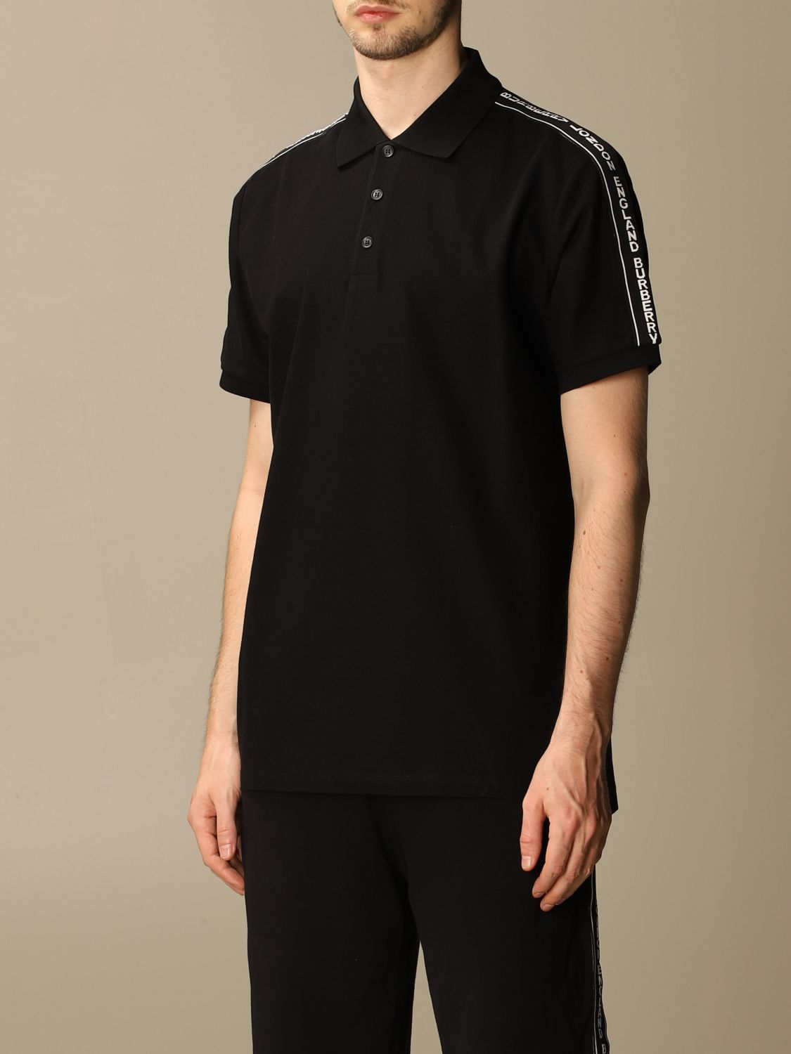 Polo shirt Burberry: Stonely Burberry polo shirt in piqué cotton with logoed bands black 4