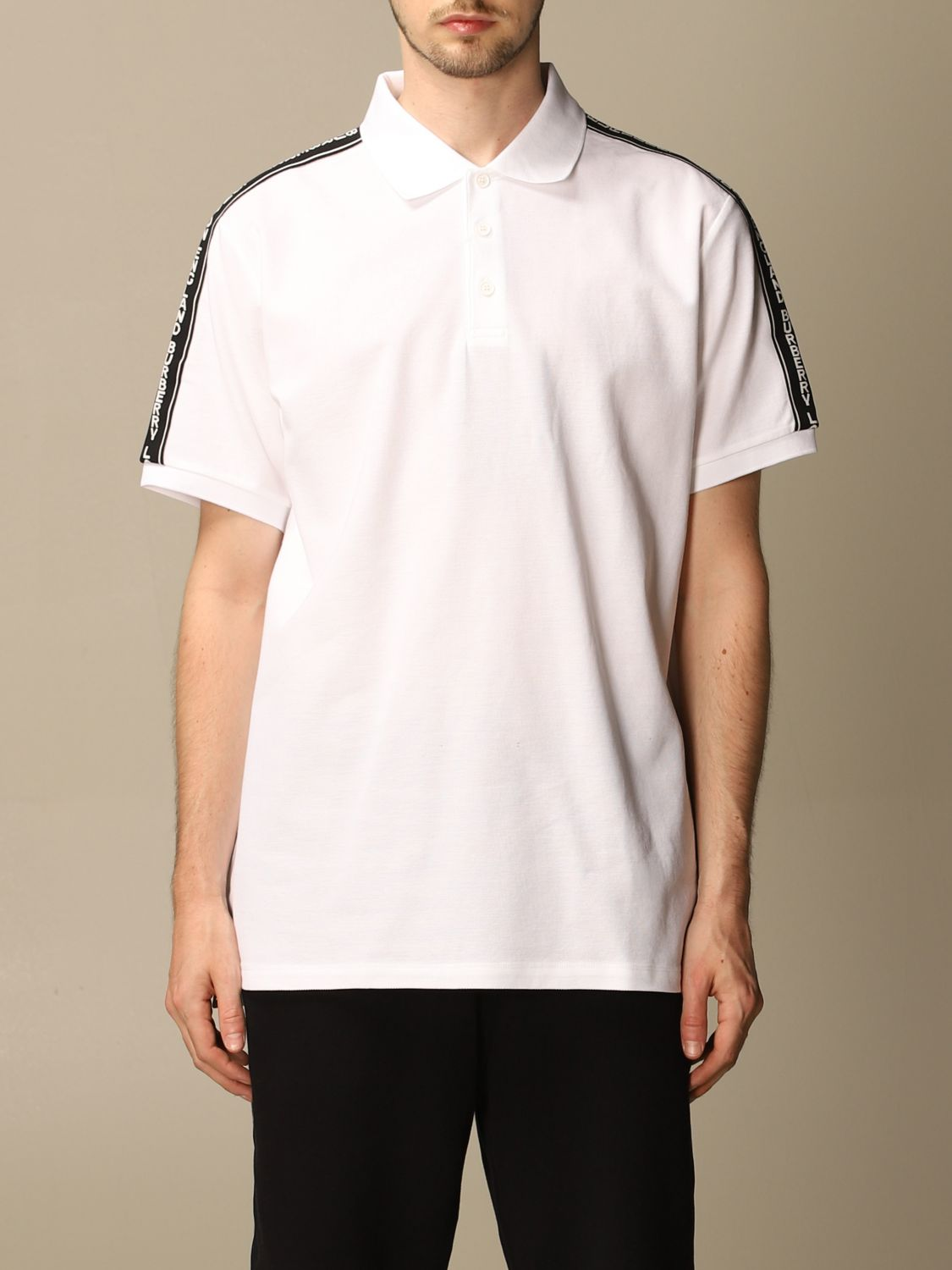 Polo shirt Burberry: Stonely Burberry polo shirt in piqué cotton with logoed bands white 1