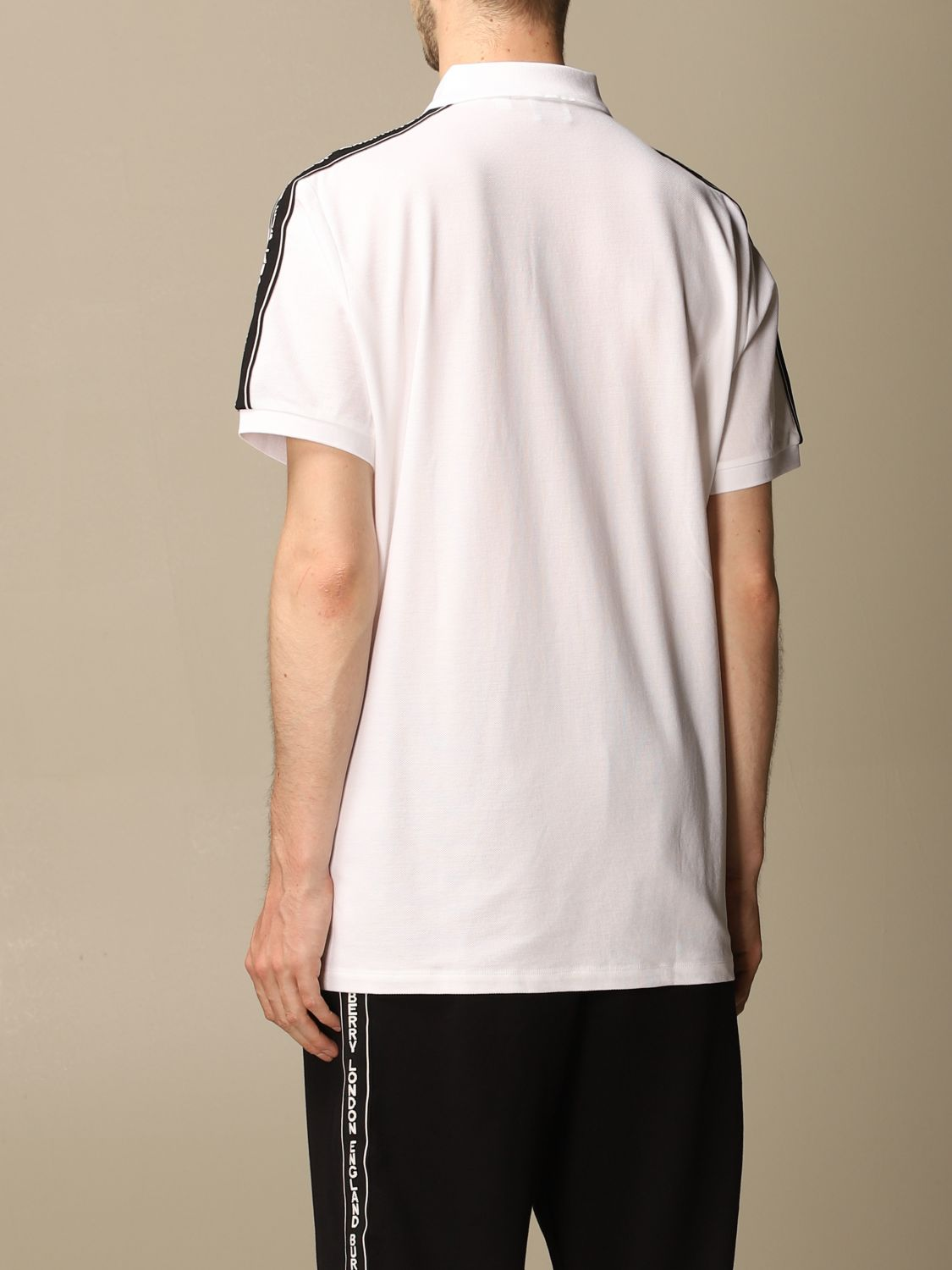 Polo shirt Burberry: Stonely Burberry polo shirt in piqué cotton with logoed bands white 3