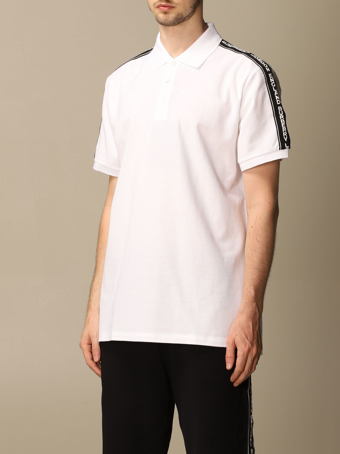 Polo shirt Burberry: Stonely Burberry polo shirt in piqué cotton with logoed bands white 4