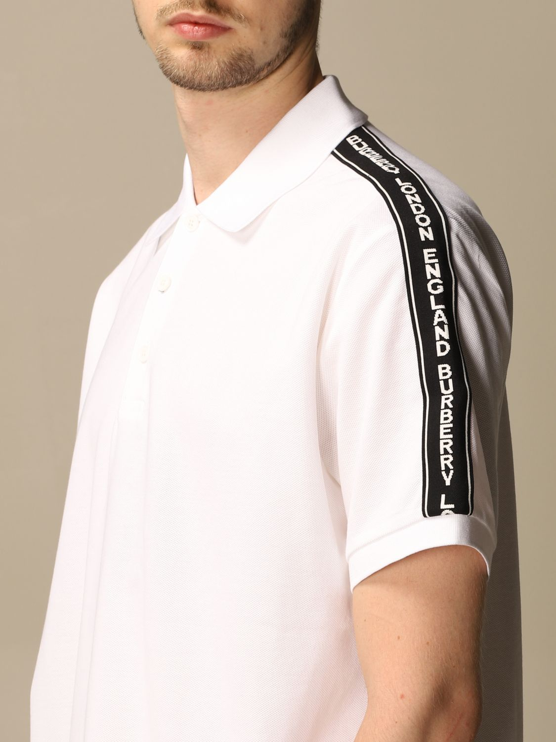 Polo shirt Burberry: Stonely Burberry polo shirt in piqué cotton with logoed bands white 5