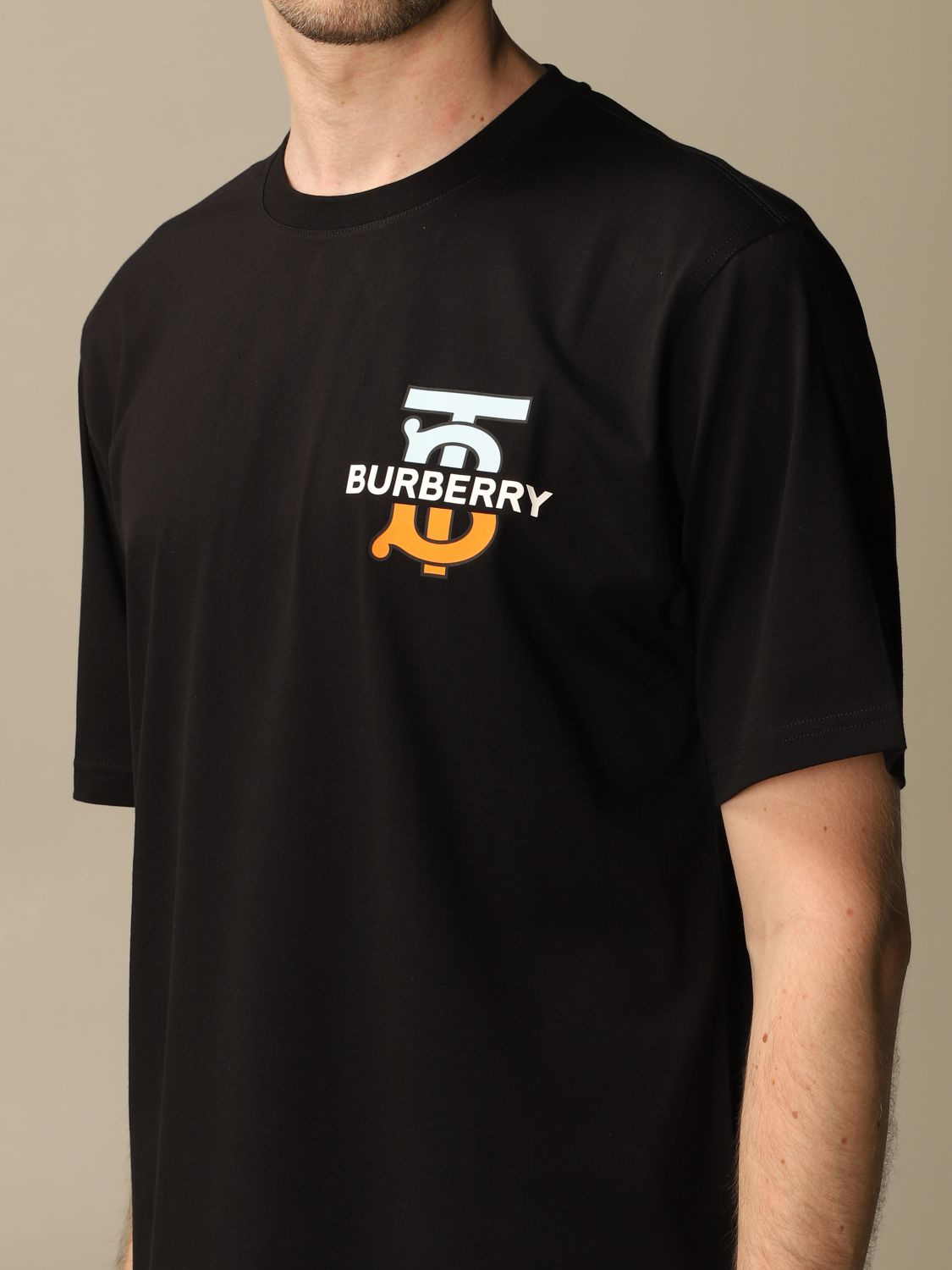 T-shirt Burberry: Ganther Burberry stretch cotton T-shirt with TB monogram black 5