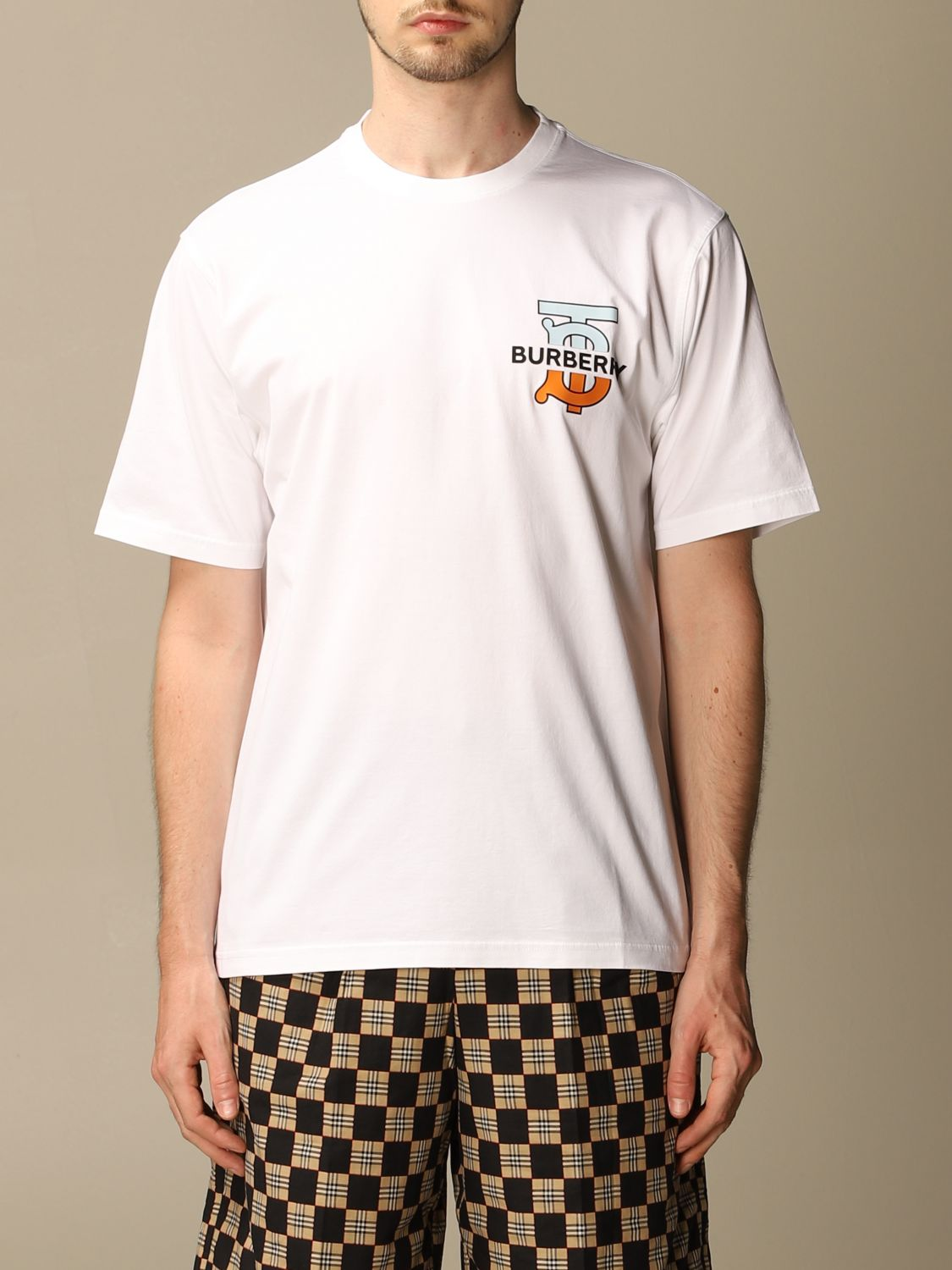 T-shirt Burberry: Ganther Burberry stretch cotton T-shirt with TB monogram white 1