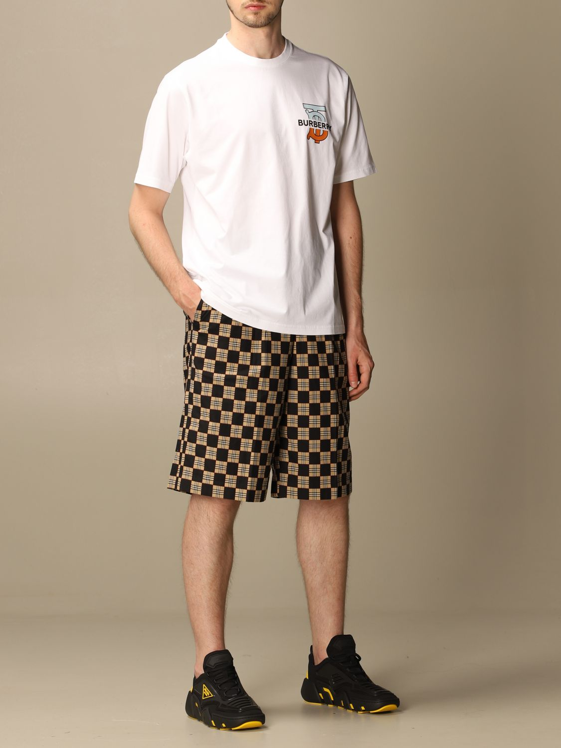 T-shirt Burberry: Ganther Burberry stretch cotton T-shirt with TB monogram white 2