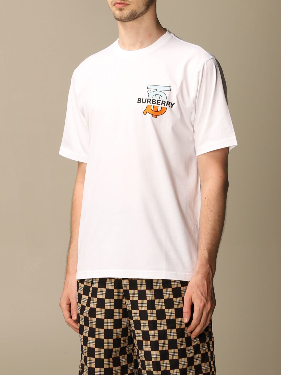 T-shirt Burberry: Ganther Burberry stretch cotton T-shirt with TB monogram white 4