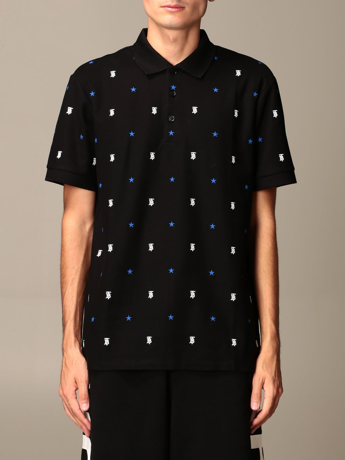 Polo shirt Burberry: Elsford Burberry polo shirt with all-over embroidered TB and star logo black 1