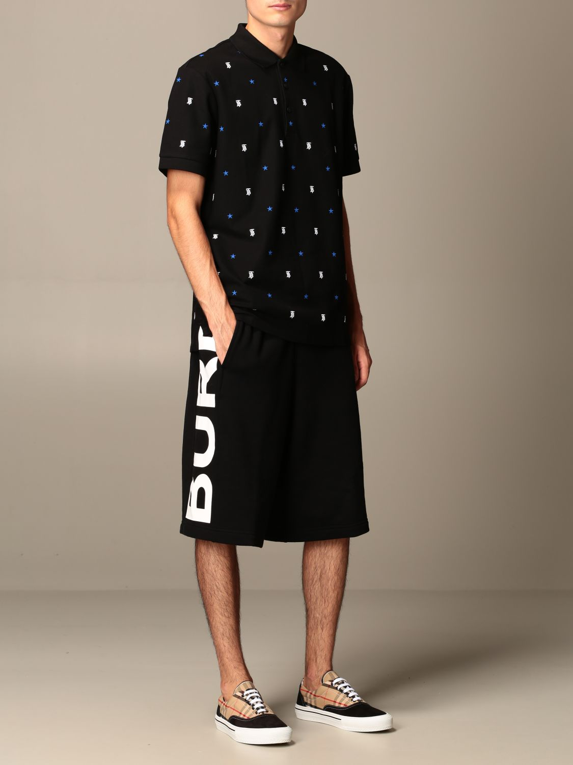 Polo shirt Burberry: Elsford Burberry polo shirt with all-over embroidered TB and star logo black 2