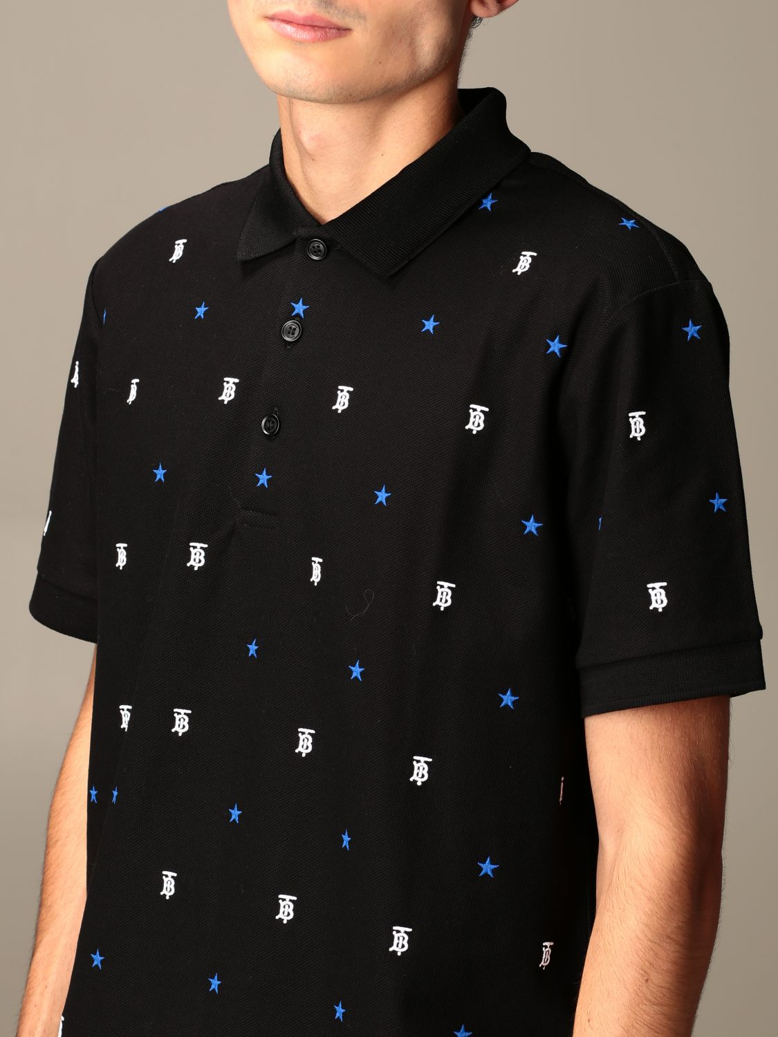 Polo shirt Burberry: Elsford Burberry polo shirt with all-over embroidered TB and star logo black 4