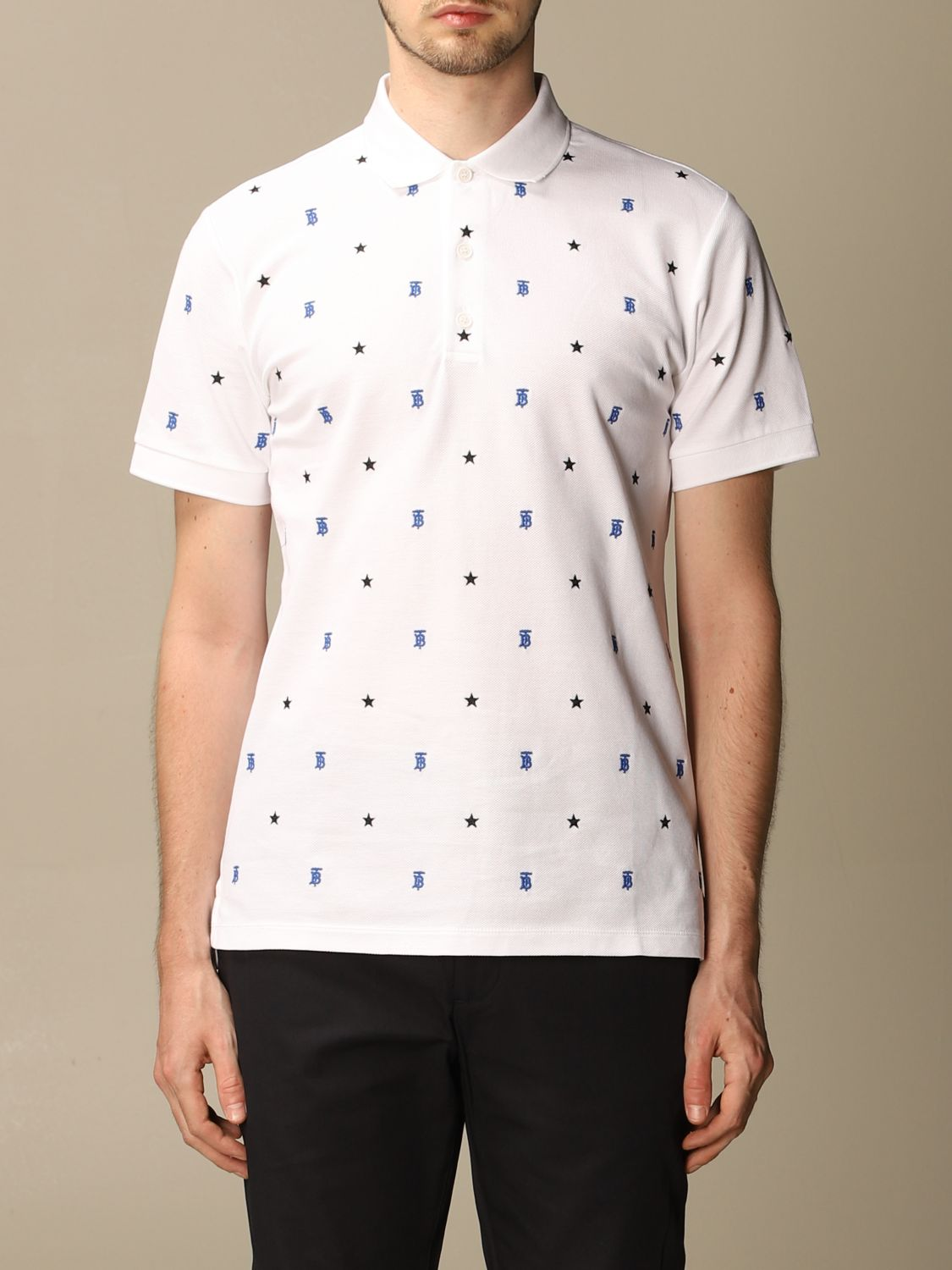 Polo shirt Burberry: Elsford Burberry polo shirt in cotton piqué with stars and TB monogram white 1