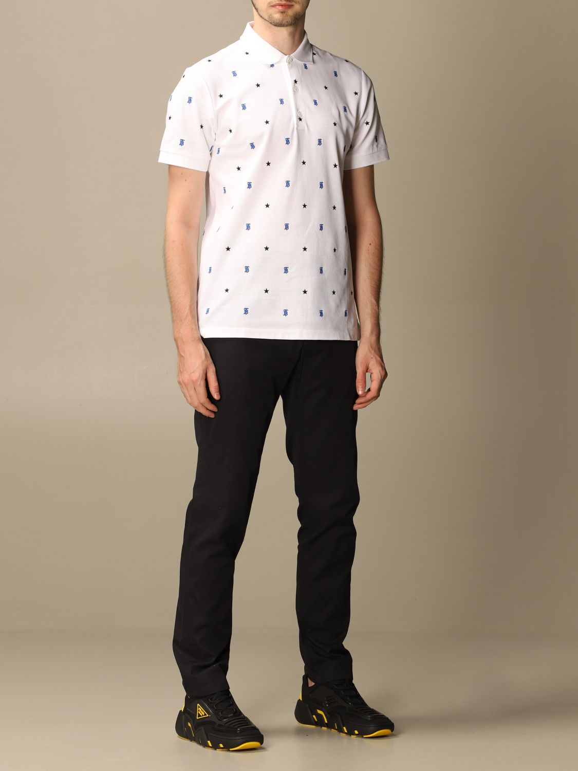 Polo shirt Burberry: Elsford Burberry polo shirt in cotton piqué with stars and TB monogram white 2