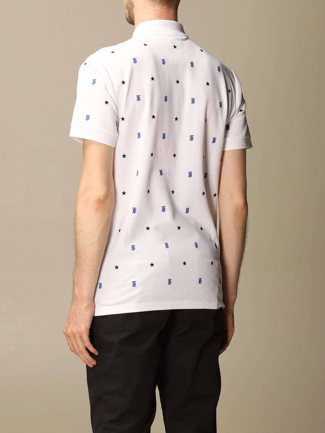 Polo shirt Burberry: Elsford Burberry polo shirt in cotton piqué with stars and TB monogram white 3