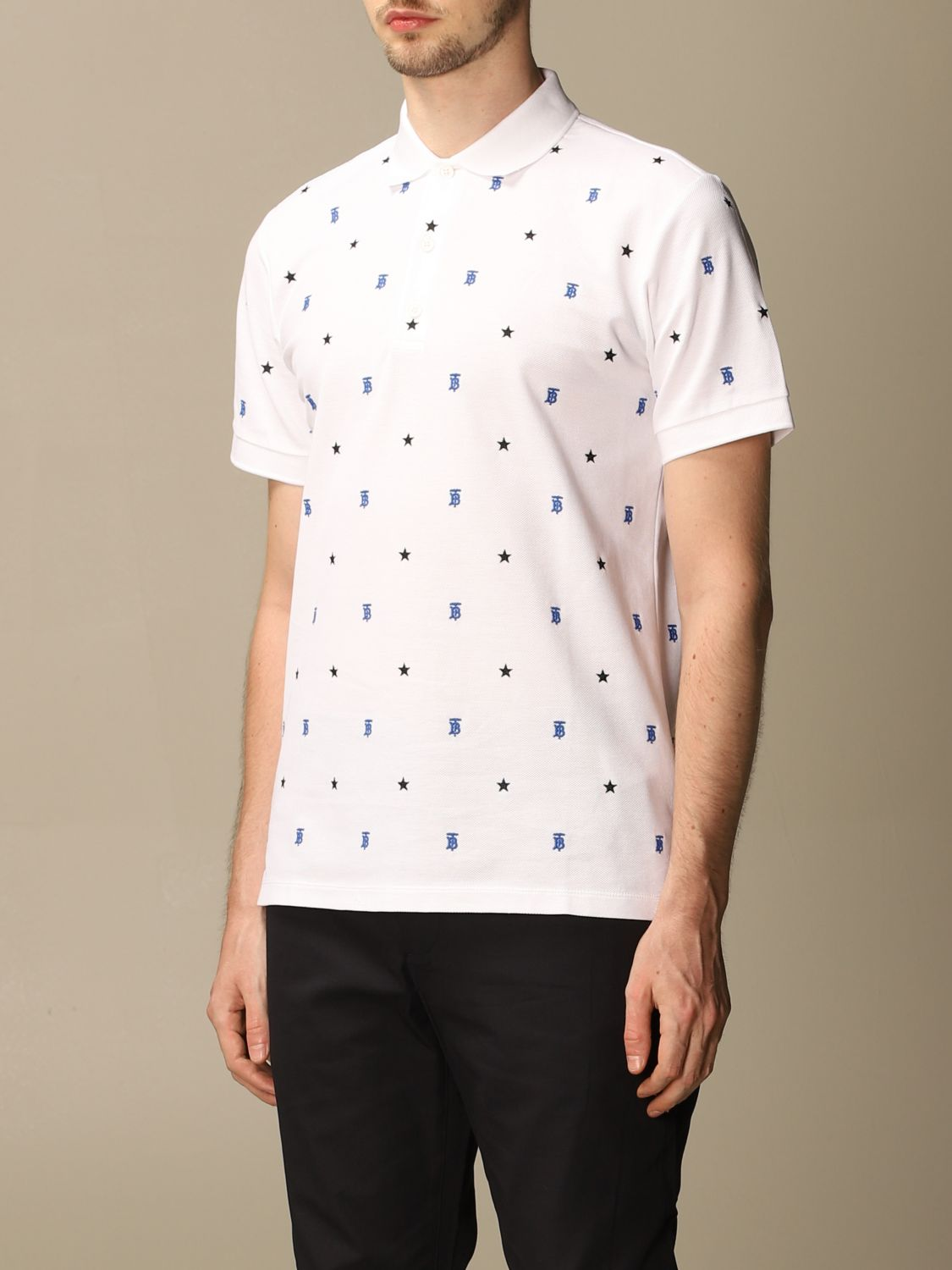 Polo shirt Burberry: Elsford Burberry polo shirt in cotton piqué with stars and TB monogram white 4