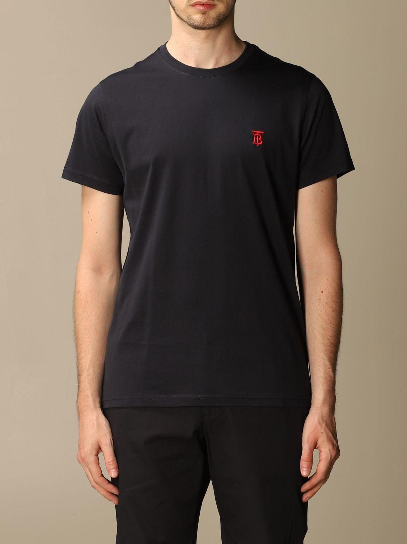 T-shirt Burberry: Parker Burberry stretch cotton T-shirt with TB monogram blue 1
