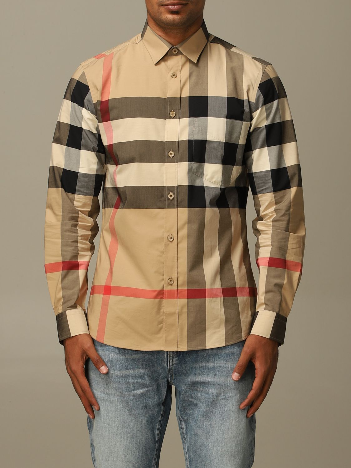 Shirt Burberry: Somerton Burberry shirt in stretch cotton poplin with check pattern beige 1