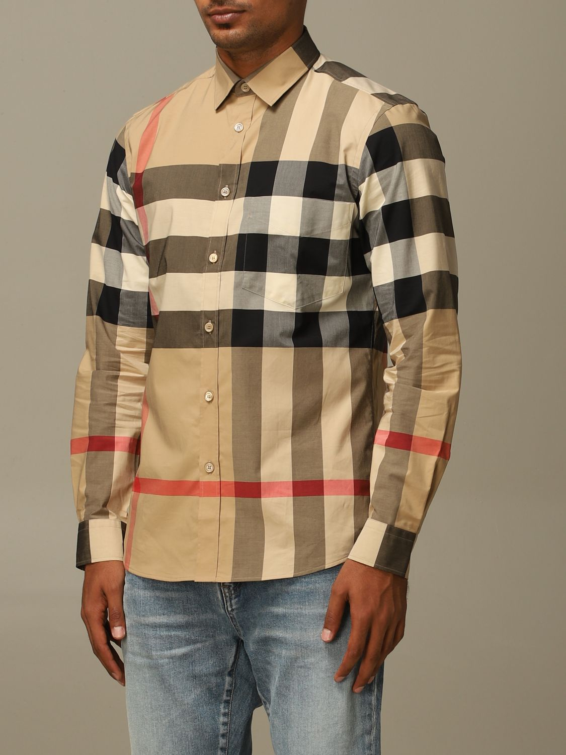 Shirt Burberry: Somerton Burberry shirt in stretch cotton poplin with check pattern beige 3