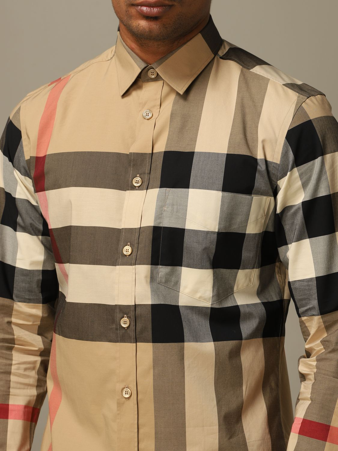 Shirt Burberry: Somerton Burberry shirt in stretch cotton poplin with check pattern beige 4