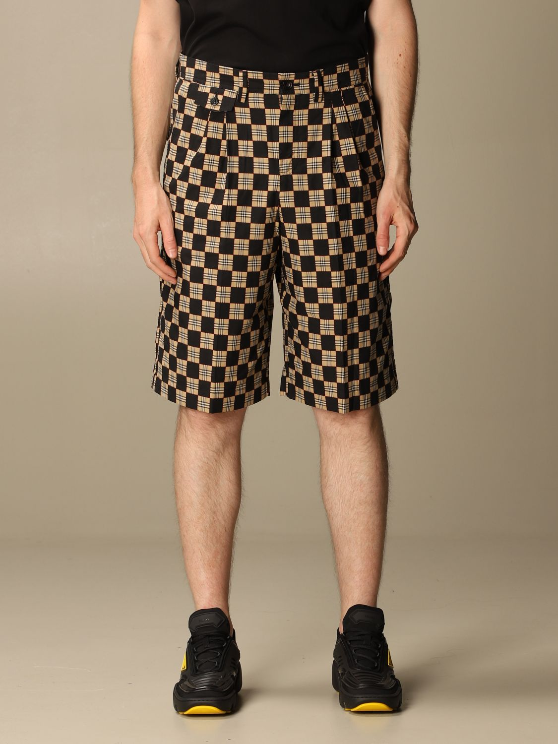 Short Burberry: Burberry tailored checkered cotton shorts beige 1