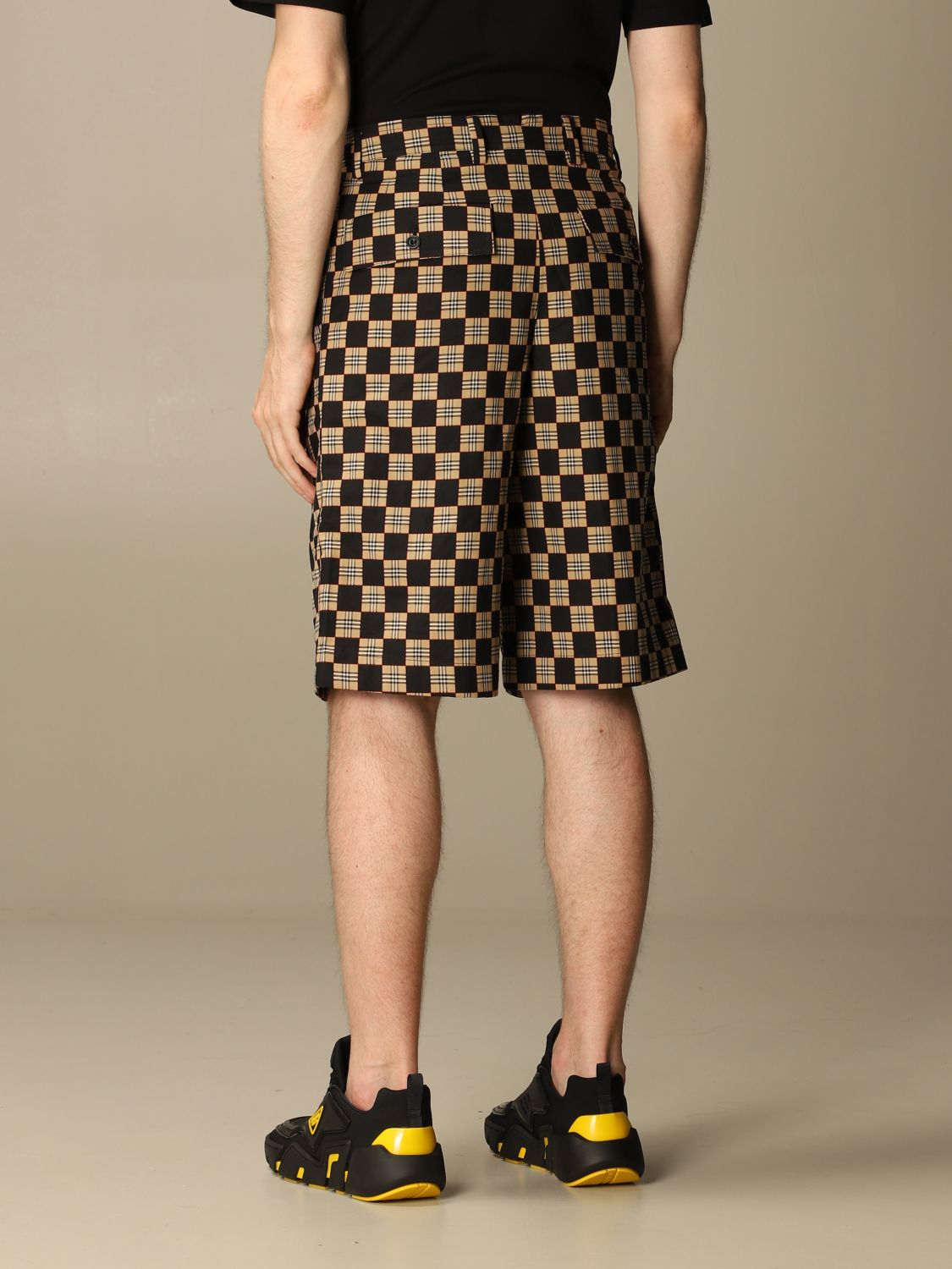 Short Burberry: Burberry tailored checkered cotton shorts beige 3