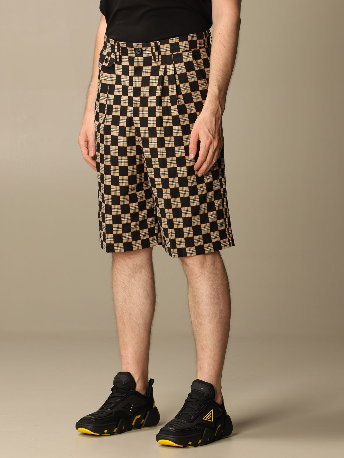 Short Burberry: Burberry tailored checkered cotton shorts beige 4