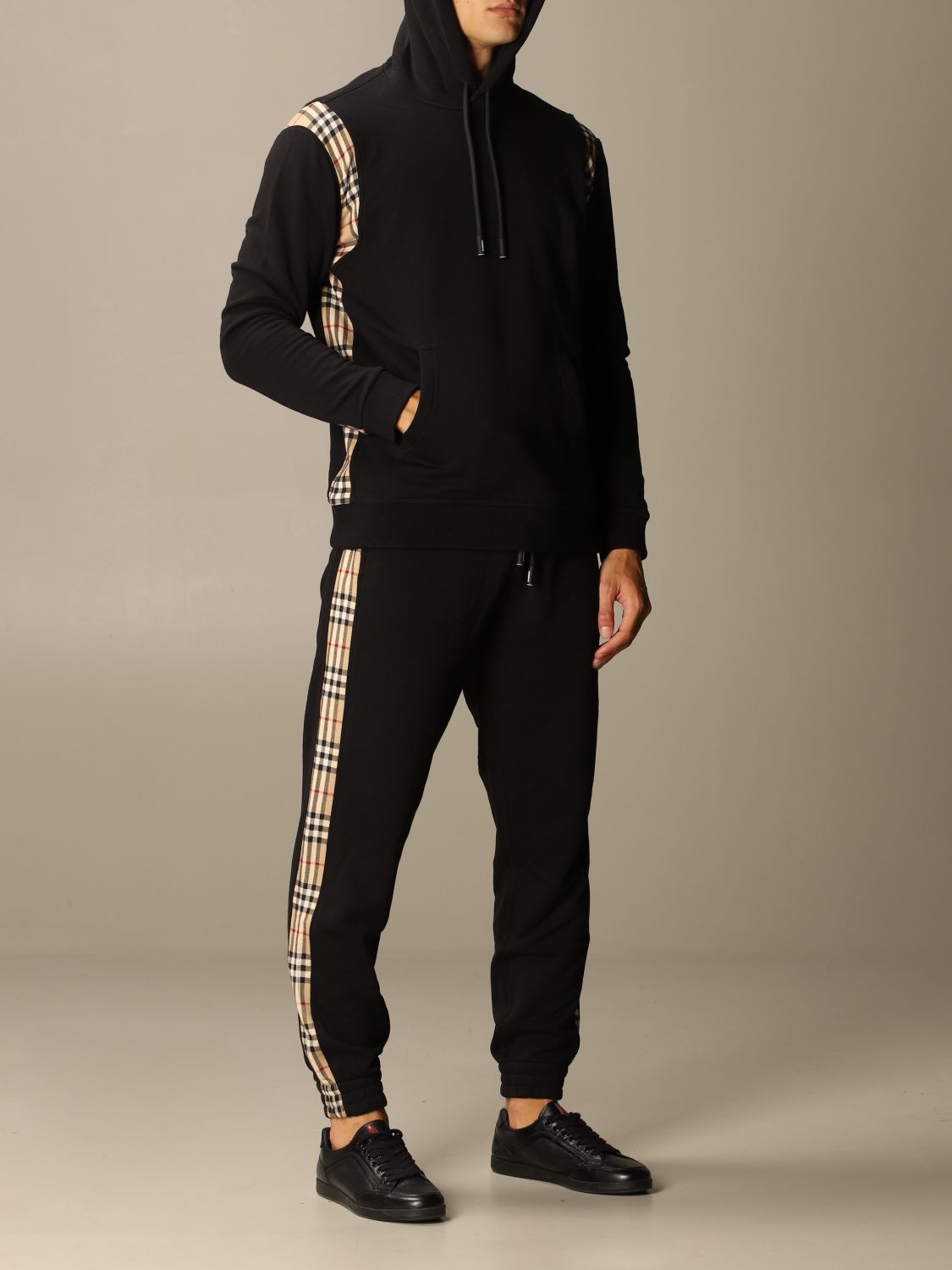 Pants Burberry: Burberry jogging trousers in cotton with check bands black 2