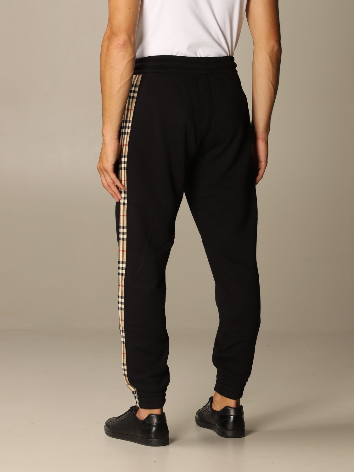 Pants Burberry: Burberry jogging trousers in cotton with check bands black 3
