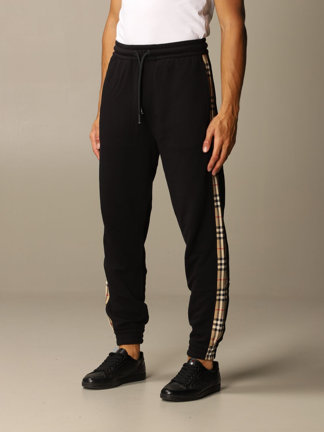 Pants Burberry: Burberry jogging trousers in cotton with check bands black 4