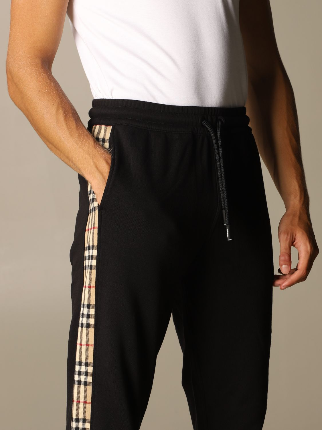 Pants Burberry: Burberry jogging trousers in cotton with check bands black 5
