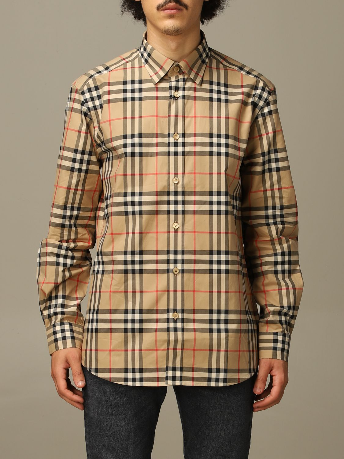 Shirt Burberry: Caxton Burberry shirt in cotton poplin with check pattern beige 1
