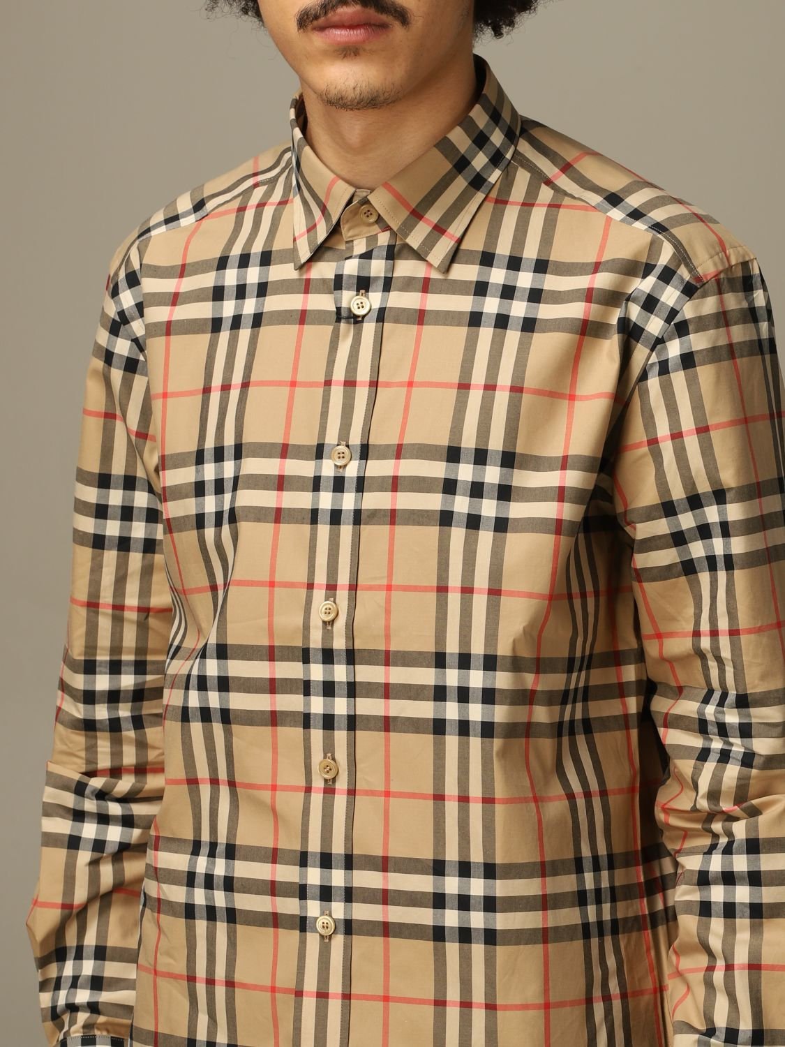 Shirt Burberry: Caxton Burberry shirt in cotton poplin with check pattern beige 3