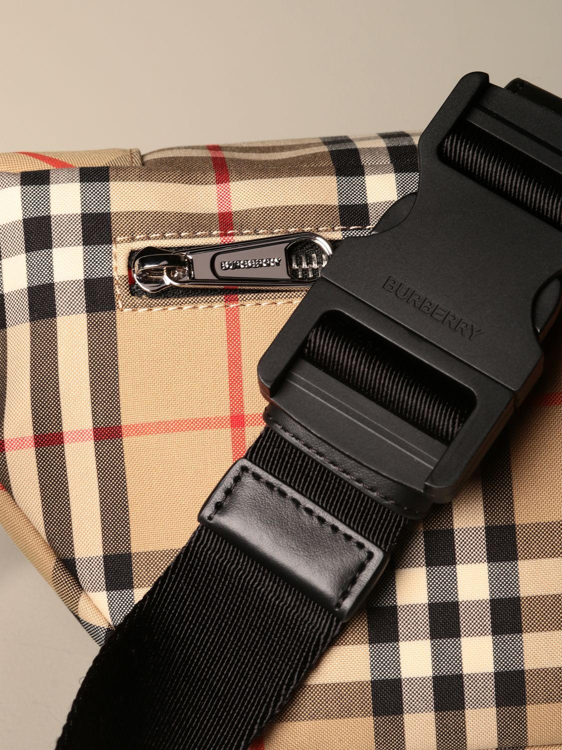 Belt bag Burberry: Burberry belt bag in eco nylon with check print yellow 3