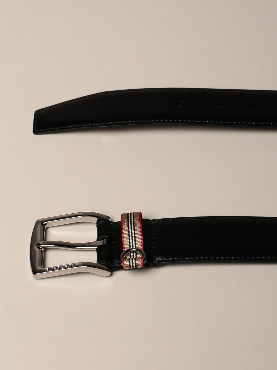 Belt Burberry: Burberry leather belt with vintage striped loop black 2