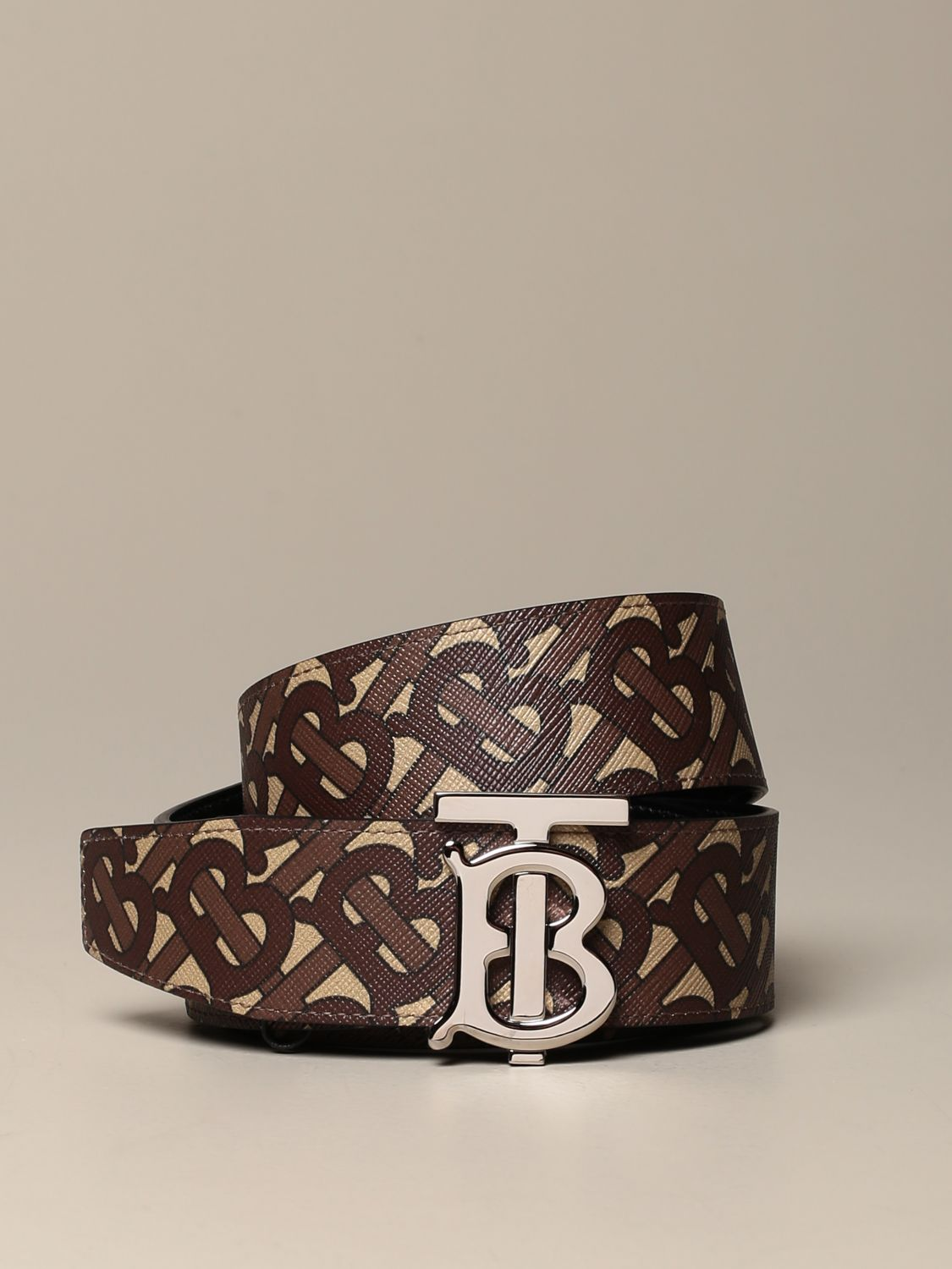 Belt Burberry: Burberry belt in canvas and leather with monogram print brown 1