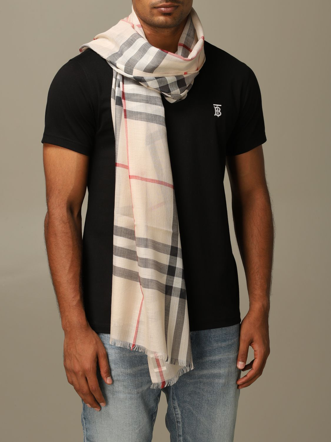 Scarf Burberry: Burberry wool and silk check scarf beige 1