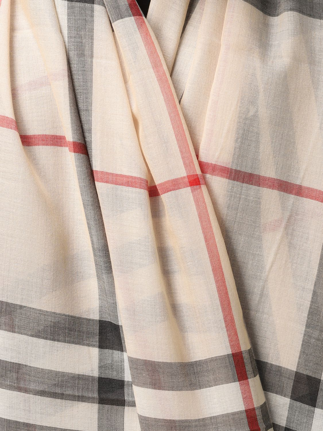 Scarf Burberry: Burberry wool and silk check scarf beige 2