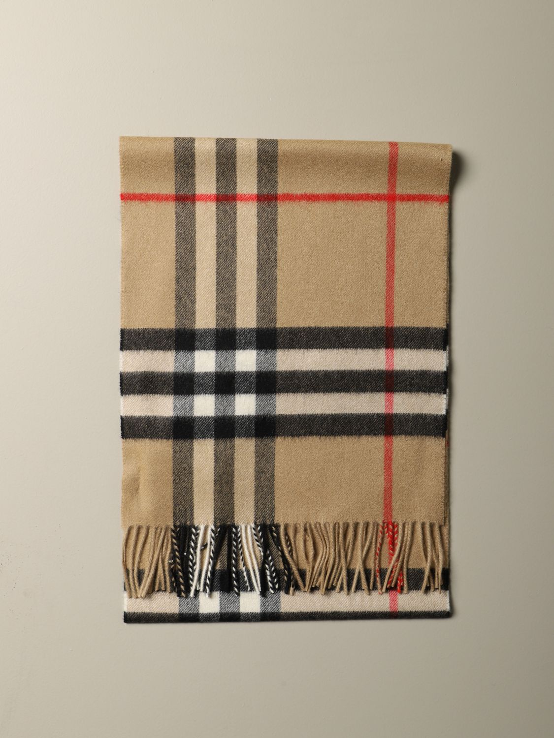 Scarf Burberry: Burberry check cashmere scarf beige 1