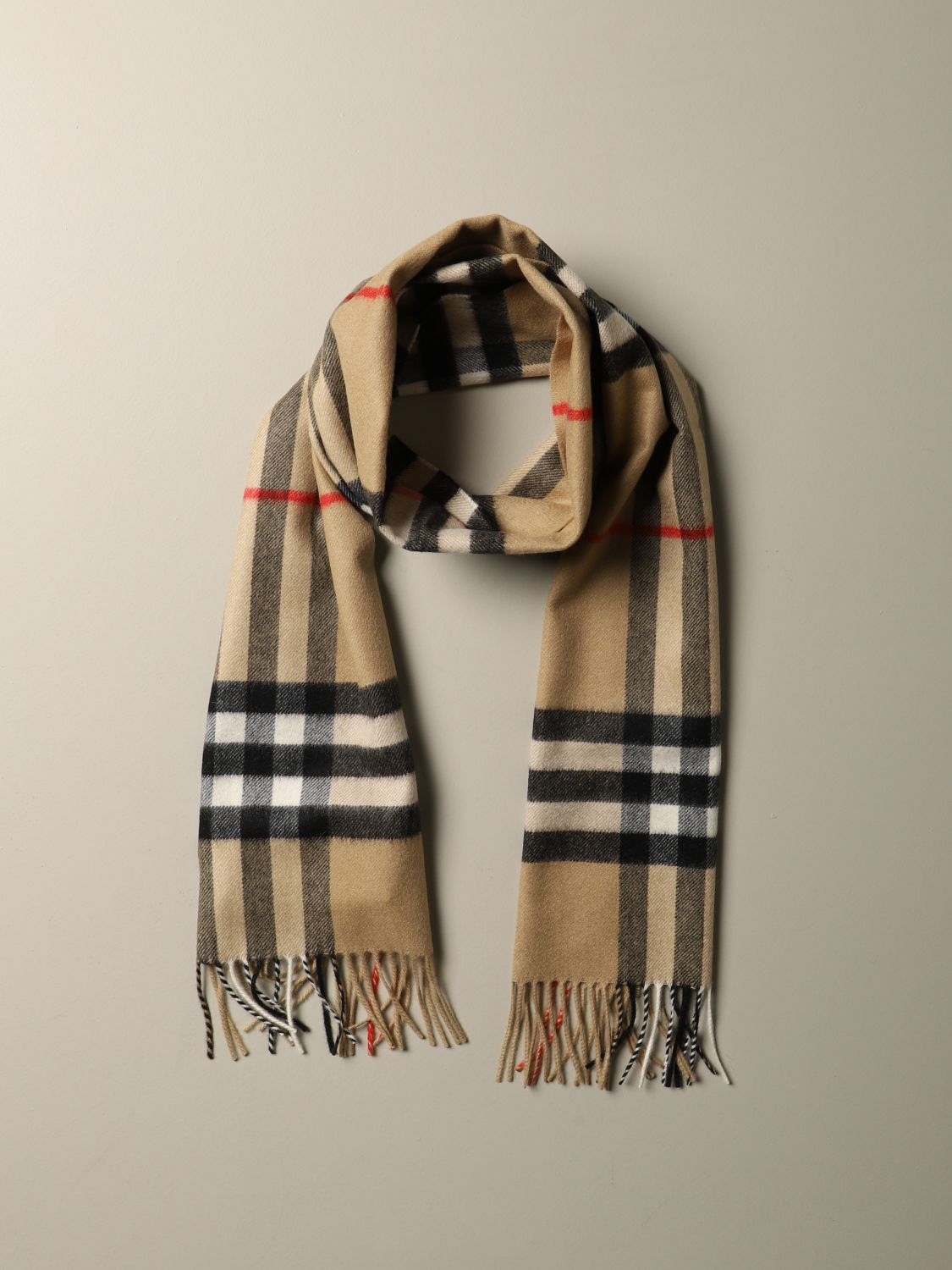 Scarf Burberry: Burberry check cashmere scarf beige 2