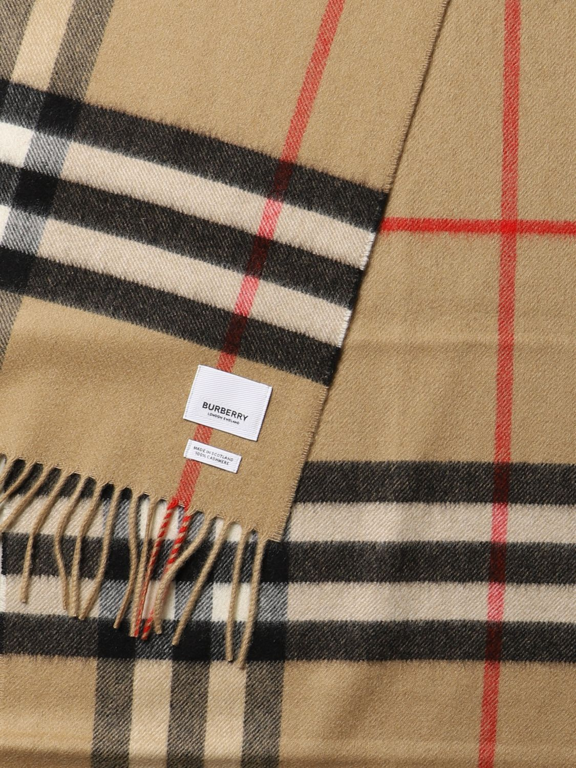 Scarf Burberry: Burberry check cashmere scarf beige 3