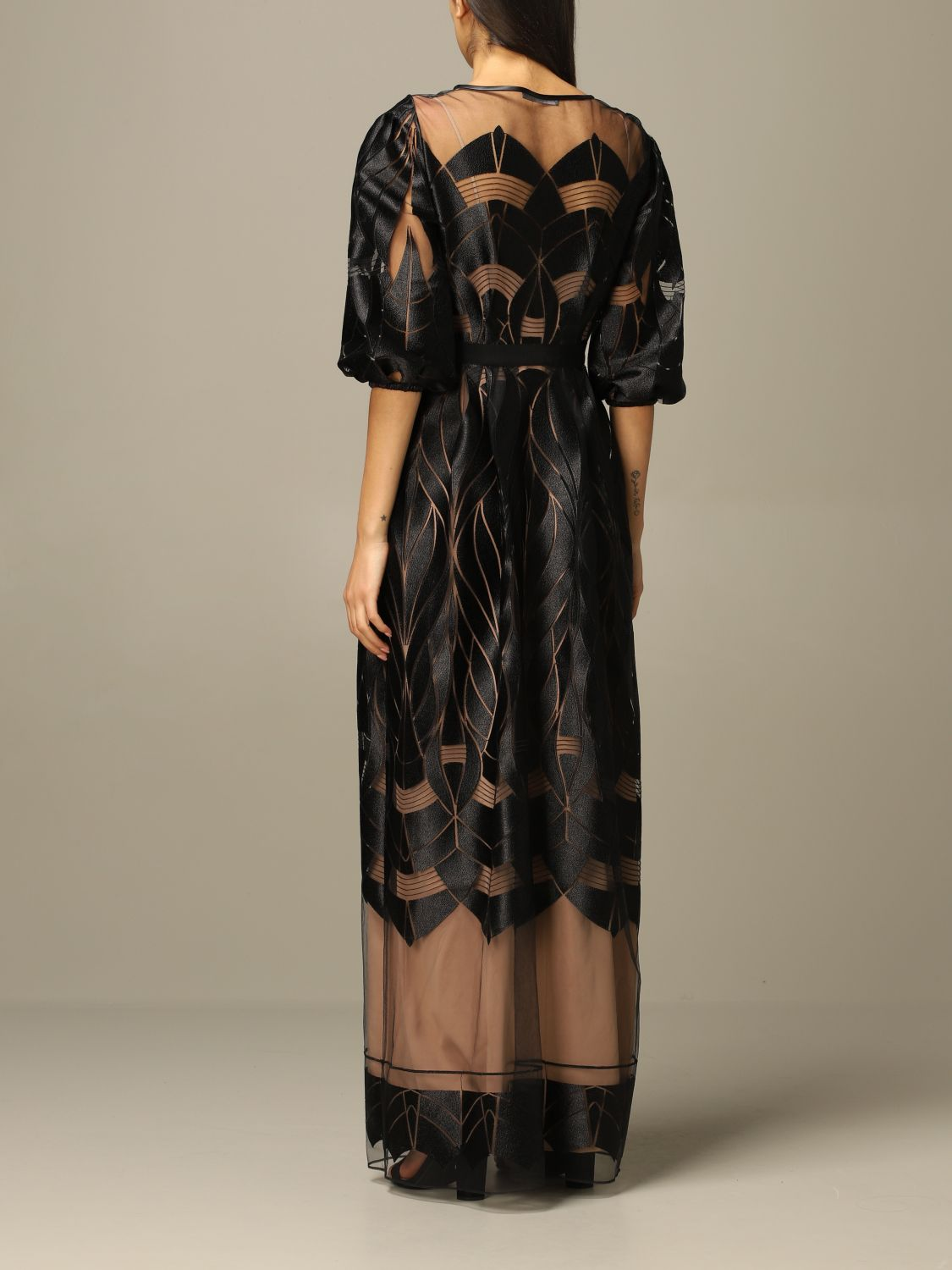 Dress Alberta Ferretti: Alberta Ferretti long dress with optical designs black 2