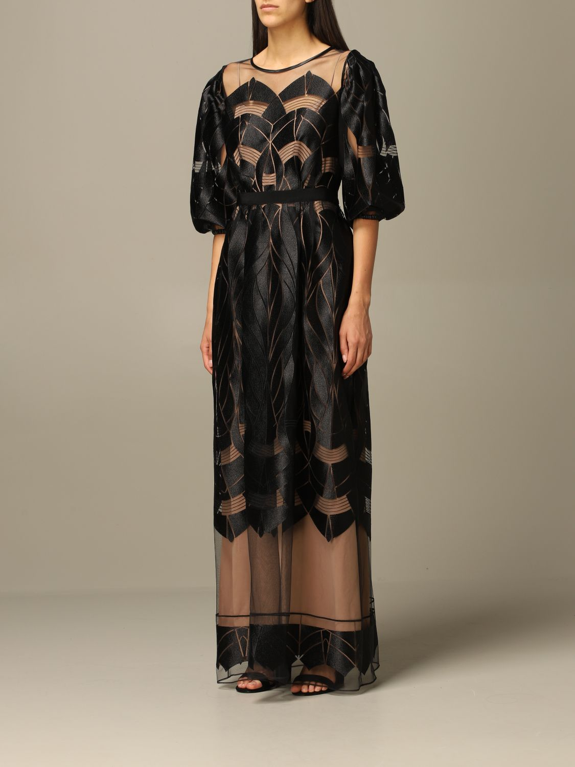 Dress Alberta Ferretti: Alberta Ferretti long dress with optical designs black 3