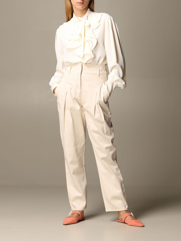 Pantalone Alberta Ferretti: Pantalone Alberta Ferretti carrots a vita alta panna 2