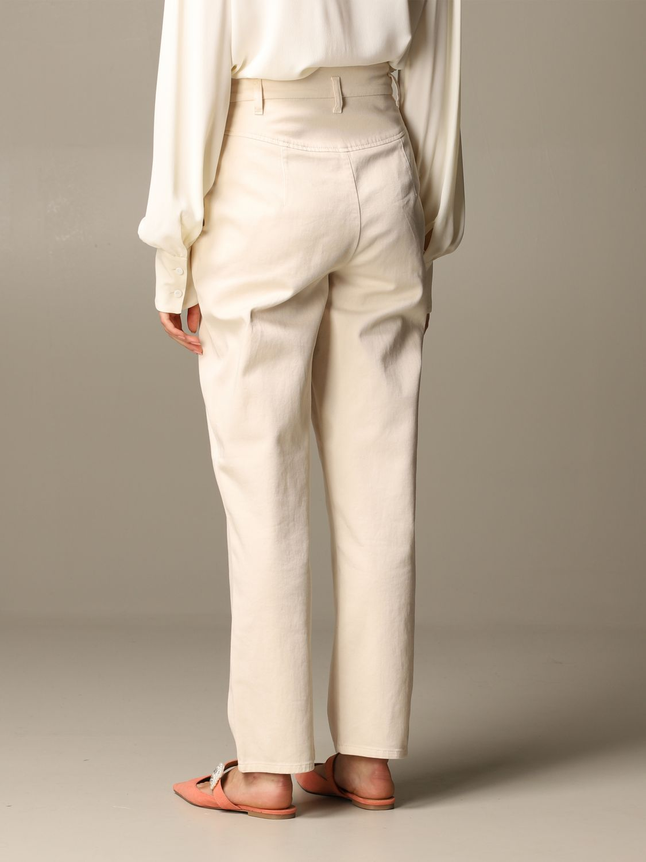 Pantalone Alberta Ferretti: Pantalone Alberta Ferretti carrots a vita alta panna 3