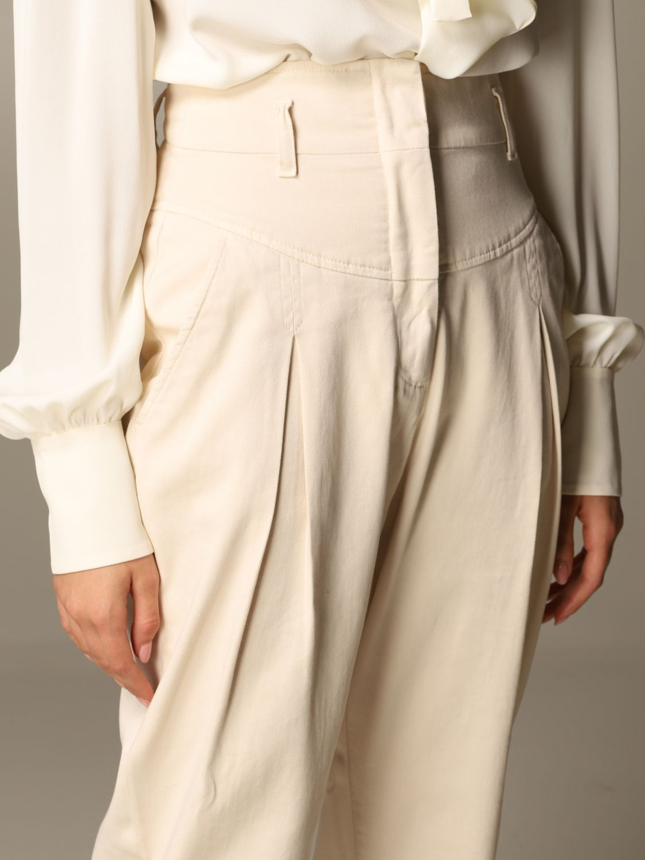 Pantalone Alberta Ferretti: Pantalone Alberta Ferretti carrots a vita alta panna 4